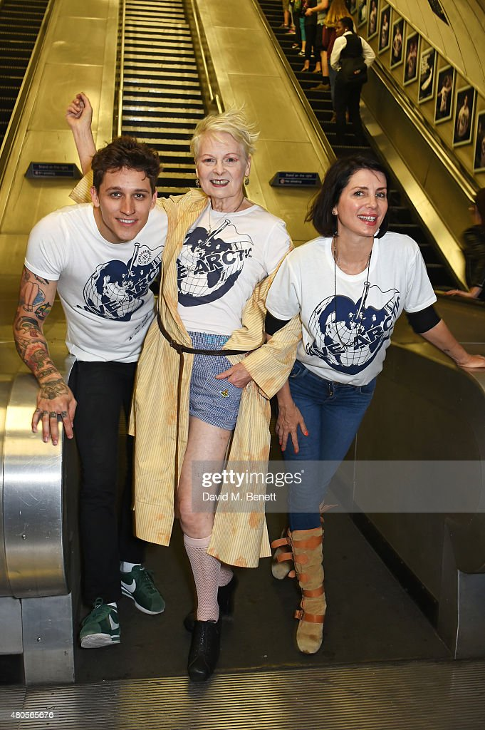 Model Leebo Freeman, Dame Vivienne Westwood and Sadie Frost attend the launch of the 'Save The Arctic' exhibition with Greenpeace hosted by London Underground at Waterloo Station on July 13, 2015 in London, England.