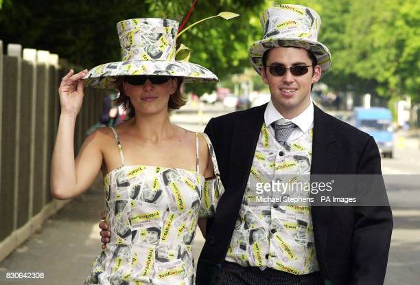 Model LeighAnne Tucker from South Africa with Keith McDonnell from Dublin wearing outfit's made of money to celebrate the abolition of the betting...