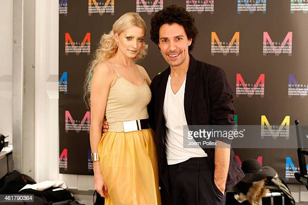 Model Lena Gercke and Boris Entrup are seen backstage ahead of the It's Showtime Maybelline New York 100th Anniversary show during the MercedesBenz...