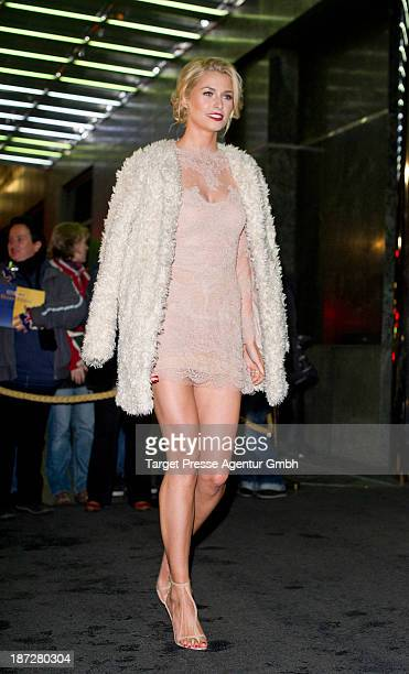 Model Lena Gercke leaves the Regent Hotel on November 7 2013 in Berlin Germany