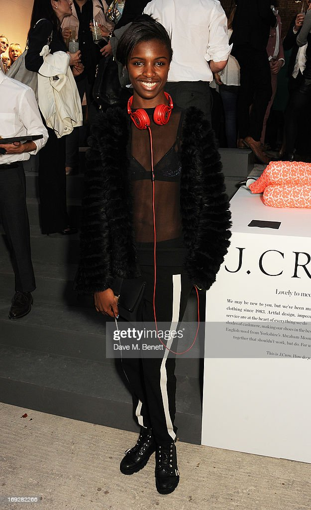 Model Leomie Anderson attends the J.Crew concept store to launch their partnership with Central Saint Martins College Of Arts And Design at The Stables on May 22, 2013 in London, England.