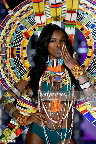 Model Leomie Anderson walks the runway during the 2017 Victoria's Secret Fashion Show In Shanghai at MercedesBenz Arena on November 20 2017 in...