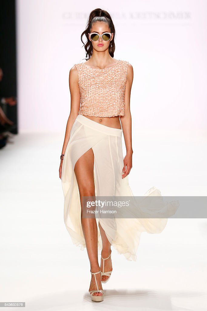 A model walks the runway at the Guido Maria Kretschmer show during the Mercedes-Benz Fashion Week Berlin Spring/Summer 2017 at Erika Hess Eisstadion on June 29, 2016 in Berlin, Germany.