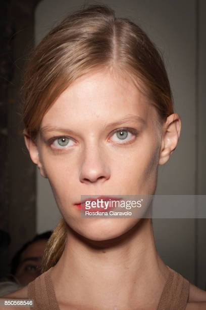 Model Lexi Boling is seen ahead backstage of the Max Mara show during Milan Fashion Week Spring/Summer 2018 on September 21 2017 in Milan Italy