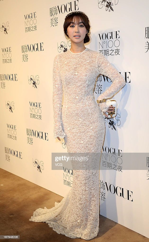 Model Li Feier attends the Vogue NO.100 night at Ch'ien Men 23 on November 12, 2013 in Beijing, China.