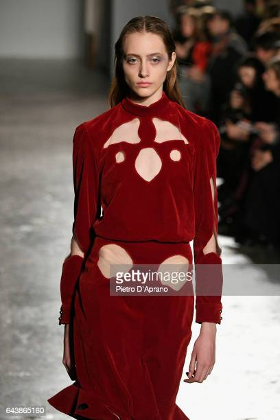 Model Lia Pavlova walks the runway at the Francesco Scognamiglio show during Milan Fashion Week Fall/Winter 2017/18 on February 22 2017 in Milan Italy