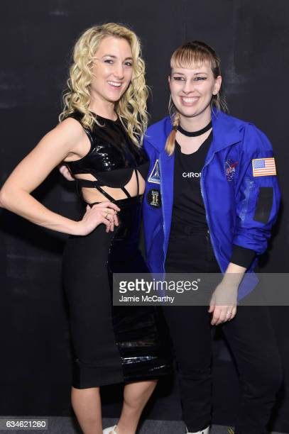 Model Liana WernerGray and designer Becca McCharen poses backstage for the Chromat collection during New York Fashion Week The Shows at Gallery 3...
