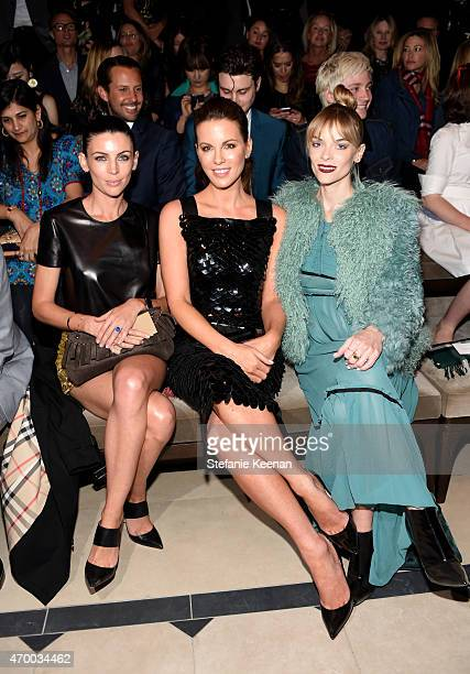 Model Liberty Ross and actors Kate Beckinsale and Jaime King attend the Burberry 'London in Los Angeles' event at Griffith Observatory on April 16...