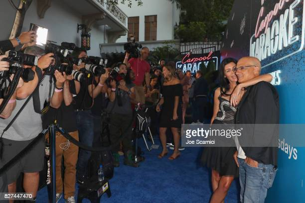 Model Liberty Ross and Apple Music exec Jimmy lovine at Apple Music Launch Party Carpool Karaoke The Series with James Corden on August 7 2017 in...
