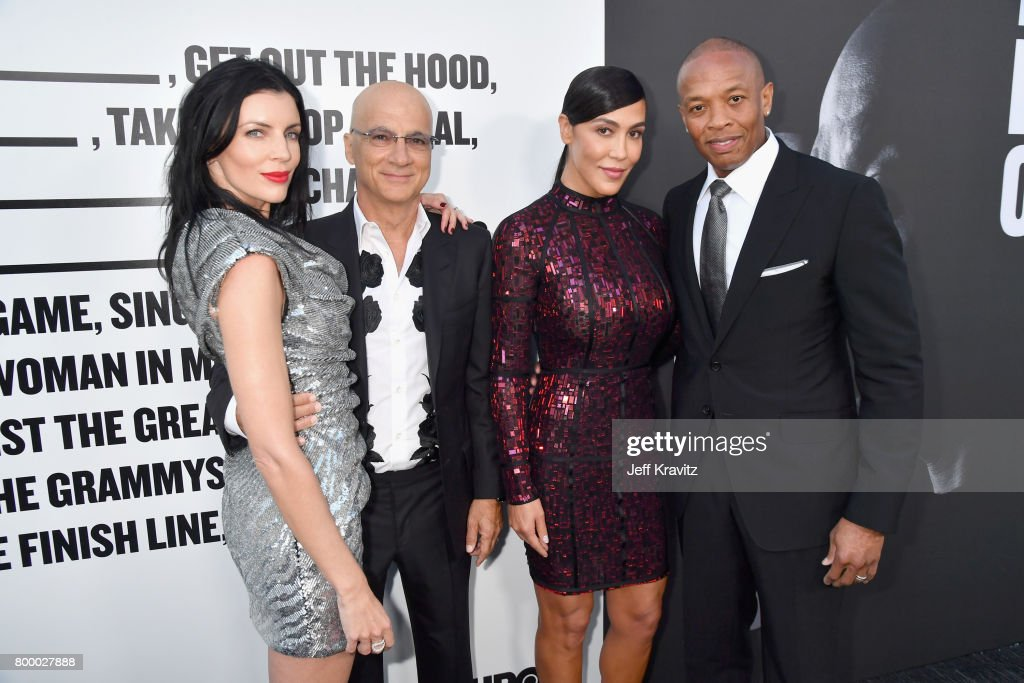 Model Liberty Ross, Jimmy Iovine, Nicole Young and Dr. Dre attend HBO's 'The Defiant Ones' premiere at Paramount Studios on June 22, 2017 in Los Angeles, California.