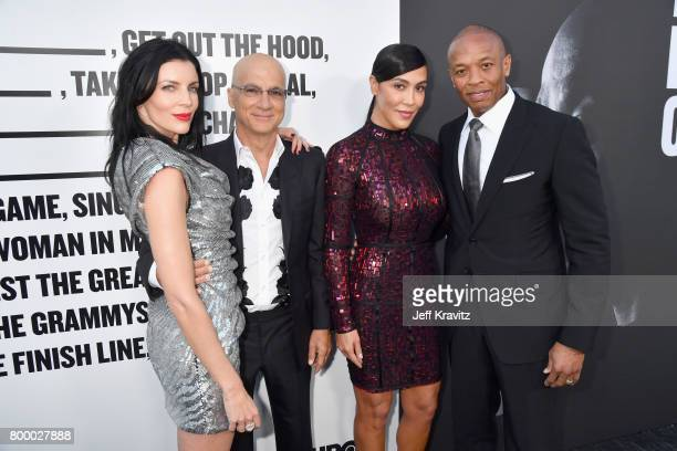 Model Liberty Ross Jimmy Iovine Nicole Young and Dr Dre attend HBO's 'The Defiant Ones' premiere at Paramount Studios on June 22 2017 in Los Angeles...
