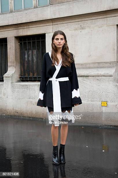 Model Lila Cardona wears a Maria K Fisherman dress and Opening Ceremony boots on day 8 during Paris Fashion Week Spring/Summer 2016/17 on October 6...