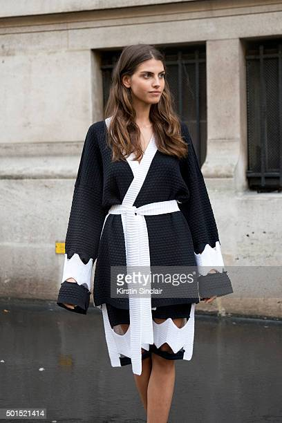 Model Lila Cardona wears a Maria K Fisherman dress on day 8 during Paris Fashion Week Spring/Summer 2016/17 on October 6 2015 in Paris France Maria K...