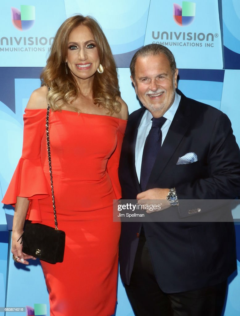 Model Lili Estefan and TV host Raul De Molina attend Univision's 2017 Upfront at the Lyric Theatre on May 16, 2017 in New York City.