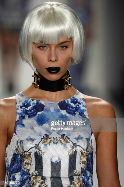 Model Liliana Matthaeus walks the runway at the Falguni Shane Peacock Spring Summer 14 fashion show during MercedesBenz Fashion Week Spring 2014 at...