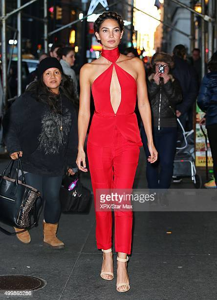 Model Lily Aldrdige is seen on December 3 2015 in New York City