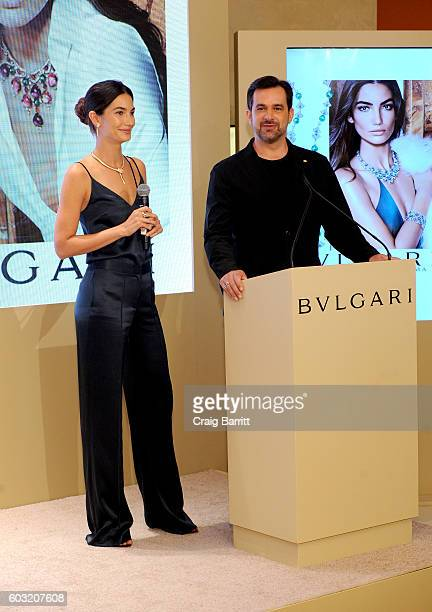 Model Lily Aldridge and International Communication Director at Bulgari Stephane Gerschel speak during the Bulgari 2016/2017 International Campaign...