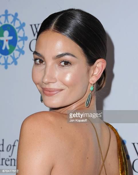 Model Lily Aldridge arrives at the 2017 World Of Children Hero Awards at Montage Beverly Hills on April 19 2017 in Beverly Hills California
