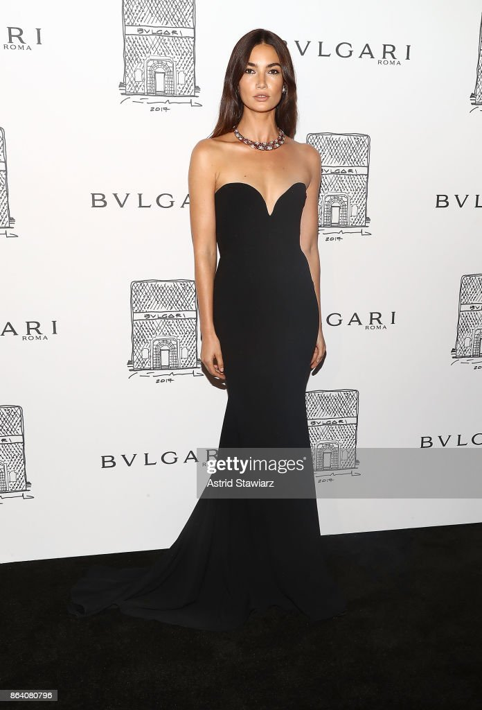 Model Lily Aldridge attends Bulgari 5th Avenue flagship store opening on October 20, 2017 in New York City.