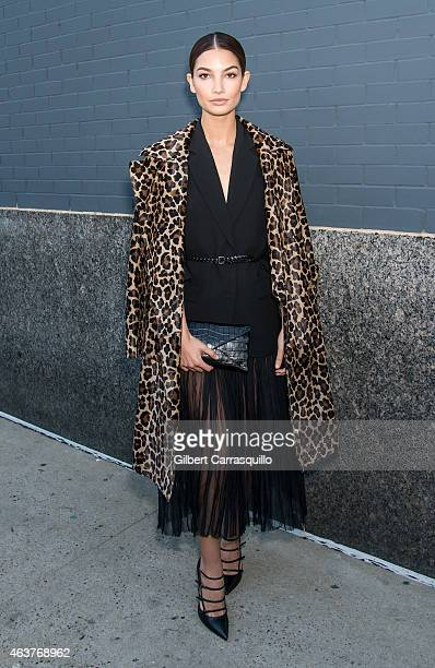 Model Lily Aldridge is seen arriving at Michael Kors fashion show during MercedesBenz Fashion Week Fall 2015 at Spring Studios on February 18 2015 in...