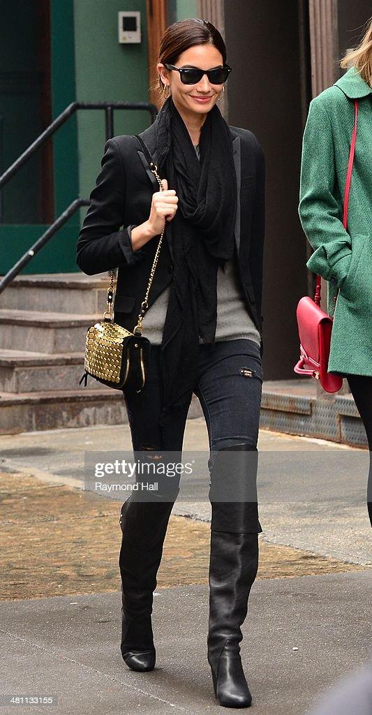 Model Lily Aldridge is seen walking in the West Village on March 28 2014 in New York City