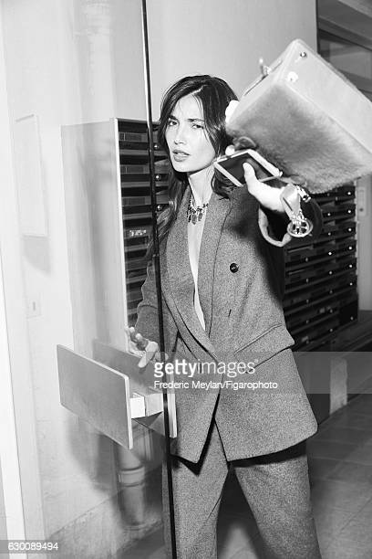 Model Lily Aldridge poses at a fashion shoot for Madame Figaro on July 30 2016 in Paris France Jacket and pants necklace bag PUBLISHED IMAGE CREDIT...