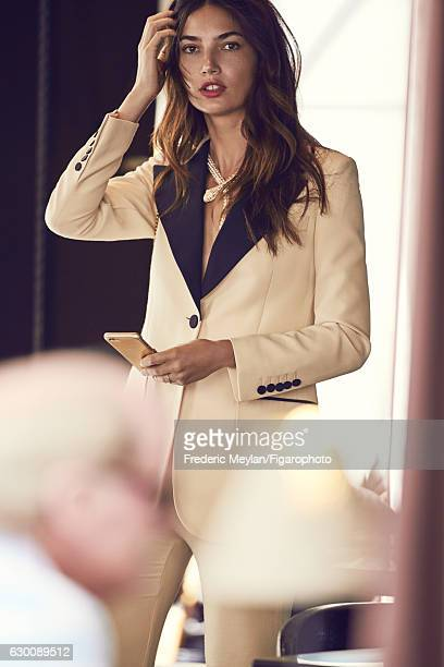 Model Lily Aldridge poses at a fashion shoot for Madame Figaro on July 30 2016 in Paris France Jacket and pants Serpenti necklace PUBLISHED IMAGE...