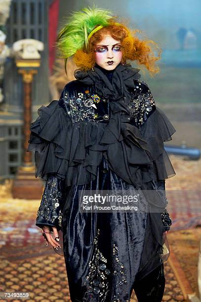 Model Lily Cole walks the catwalk during the John Galliano fashion show as part of Paris Fashion Week Autumn/Winter 2008 on March 3 2007 in Paris...