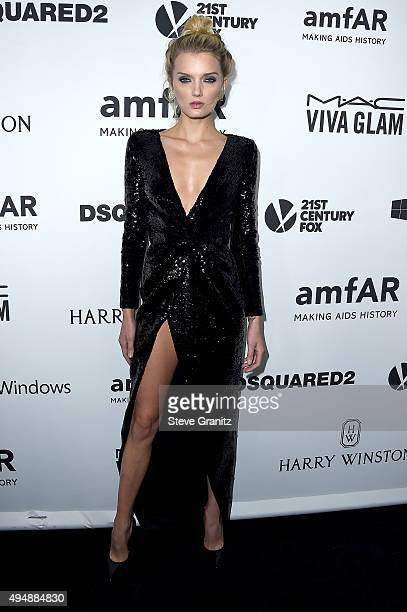 Model Lily Donaldson attends amfAR's Inspiration Gala Los Angeles at Milk Studios on October 29 2015 in Hollywood California