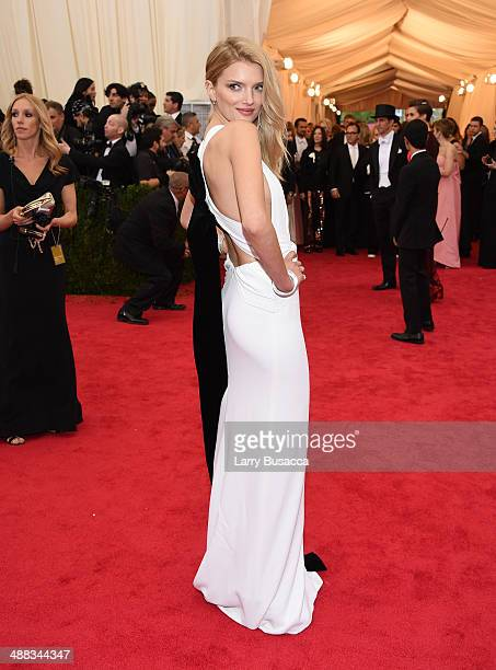 Model Lily Donaldson attends the 'Charles James Beyond Fashion' Costume Institute Gala at the Metropolitan Museum of Art on May 5 2014 in New York...