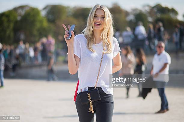 Model Lily Donaldson during the Paris Fashion Week Womenswear Spring/Summer 2016 on October 3 2015 in Paris France