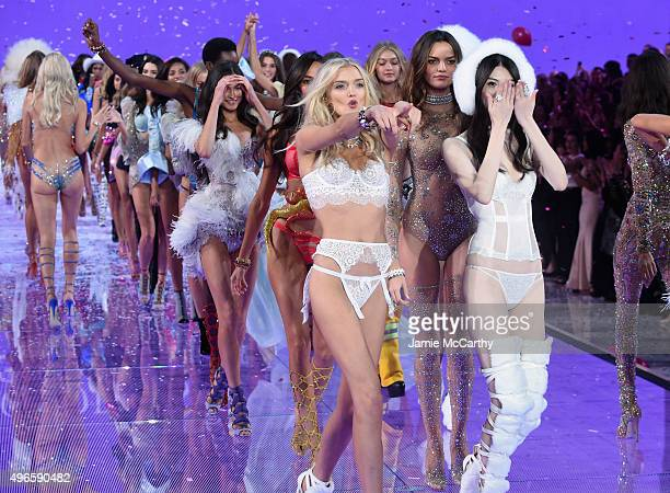 Model Lily Donaldson from The United Kingdom walks the runway during the 2015 Victoria's Secret Fashion Show at Lexington Avenue Armory on November...