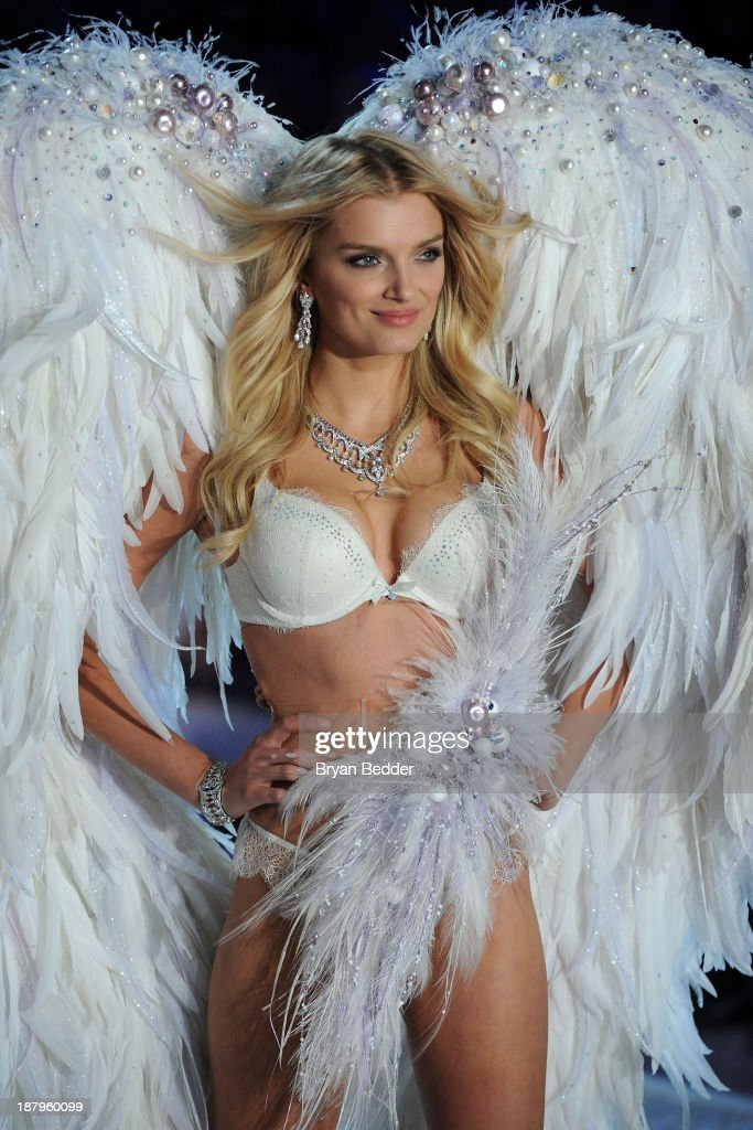 Model Lily Donaldson walks the runway at the 2013 Victoria's Secret Fashion Show at Lexington Avenue Armory on November 13, 2013 in New York City.