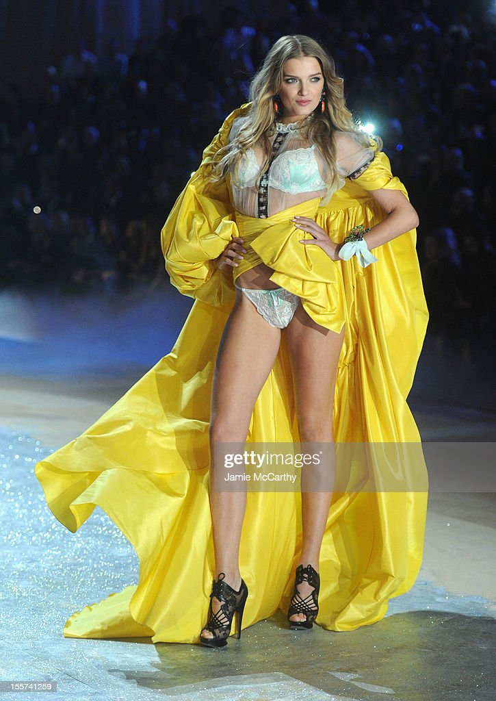 Model Lily Donaldson walks the runway during the 2012 Victoria's Secret Fashion Show at the Lexington Avenue Armory on November 7, 2012 in New York City.