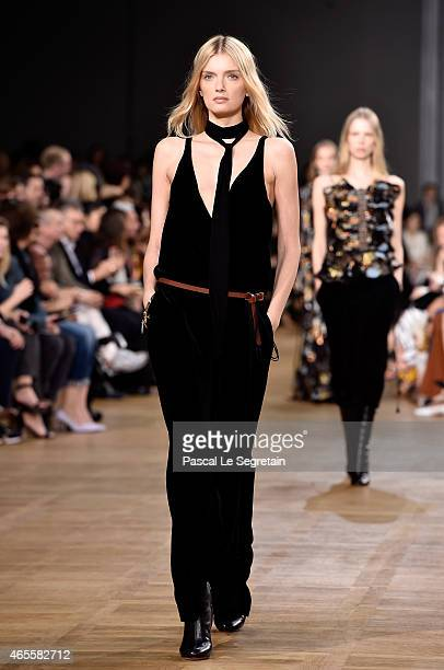 Model Lily Donaldson walks the runway during the Chloe show as part of the Paris Fashion Week Womenswear Fall/Winter 2015/2016 on March 8 2015 in...