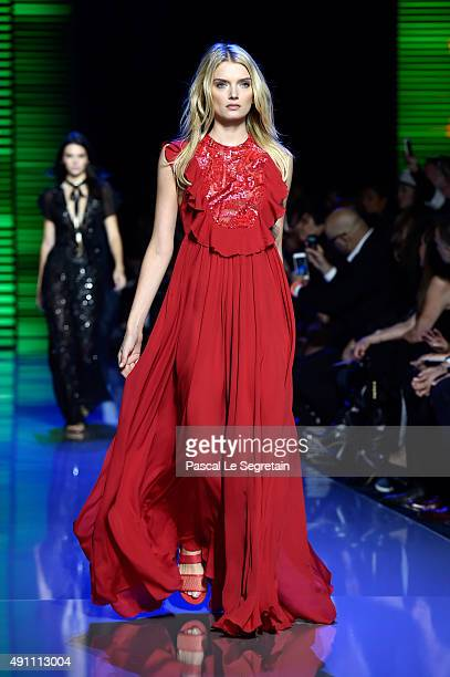 Model Lily Donaldson walks the runway during the Elie Saab show as part of the Paris Fashion Week Womenswear Spring/Summer 2016 on October 3 2015 in...