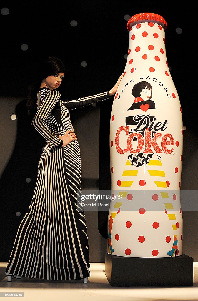 Model Lily McMenamy poses at a party celebrating 30 years of Diet Coke and announcing designer Marc Jacobs as Creative Director for Diet Coke in 2013 at the German Gymnasium Kings Cross on March 11, 2013 in London, England.