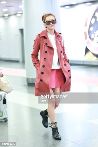 Model Lin Chiling arrives at Beijing Capital International Airport to head for Shanghai on April 18 2017 in Beijing China