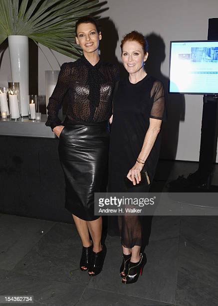 Model Linda Evangelista and actress Julianne Moore attends WSJ Magazine's 'Innovator Of The Year' Awards at MOMA on October 18 2012 in New York City