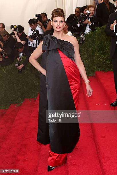 Model Linda Evangelista attends 'China Through the Looking Glass' the 2015 Costume Institute Gala at Metropolitan Museum of Art on May 4 2015 in New...
