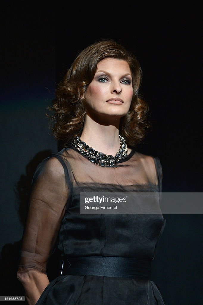 Model Linda Evangelista attends Fashion Cares: A Night Of Glitter & Light Featuring Elton John - Show at Sony Centre For Performing Arts on September 9, 2012 in Toronto, Canada.