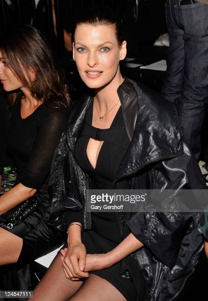 Model Linda Evangelista attends the Alexander Wang Spring 2012 fashion show during MercedesBenz Fashion Week at Pier 94 on September 10 2011 in New...