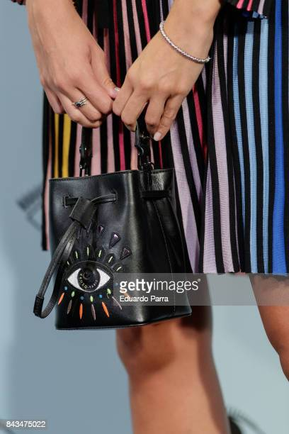 Model Linda Morselli handbag detail attends the 'Kenzo summer party' photocall at Royal Theatre on September 6 2017 in Madrid Spain