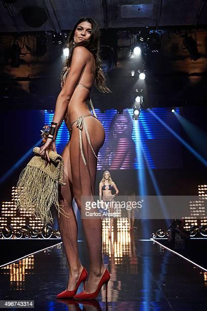 Model Linda Morselli walks the runway during the Women'secret Videoclip presentation at the La Riviera Club on November 11 2015 in Madrid Spain