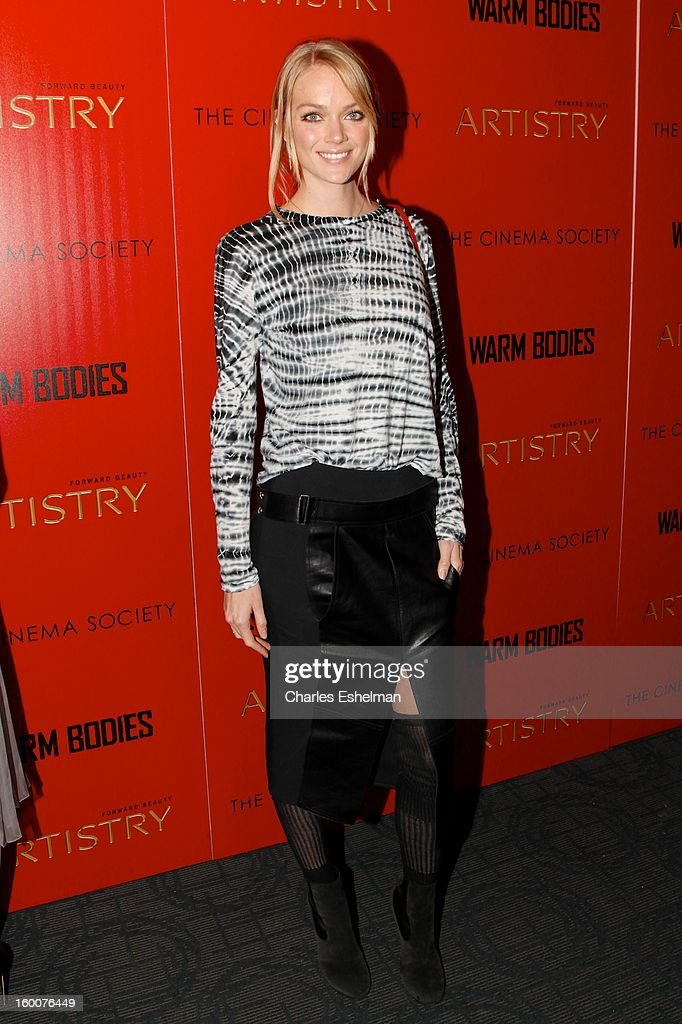 Model Lindsay Ellingson attends the Cinema Society and Artistry screening of 'Warm Bodies' at Landmark Sunshine Cinema on January 25, 2013 in New York City.