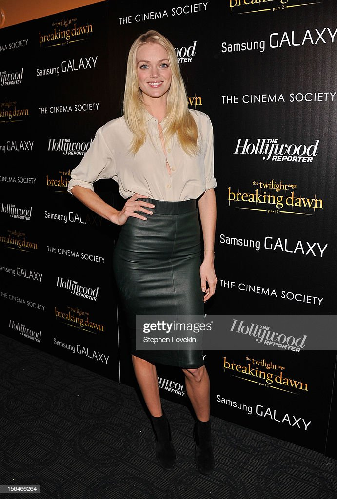 Model Lindsay Ellingson attends The Cinema Society with The Hollywood Reporter & Samsung Galaxy screening of 'The Twilight Saga: Breaking Dawn Part 2' on November 15, 2012 in New York City.