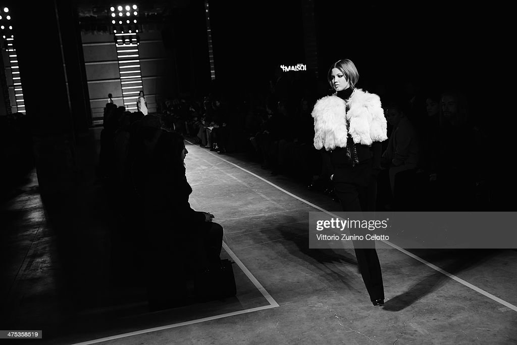 Model Lindsay Wixson walks the runway at the IRFE show as part of the Paris Fashion Week Womenswear Fall/Winter 2014-2015 at Espace Vendome on February 27, 2014 in Paris, France.