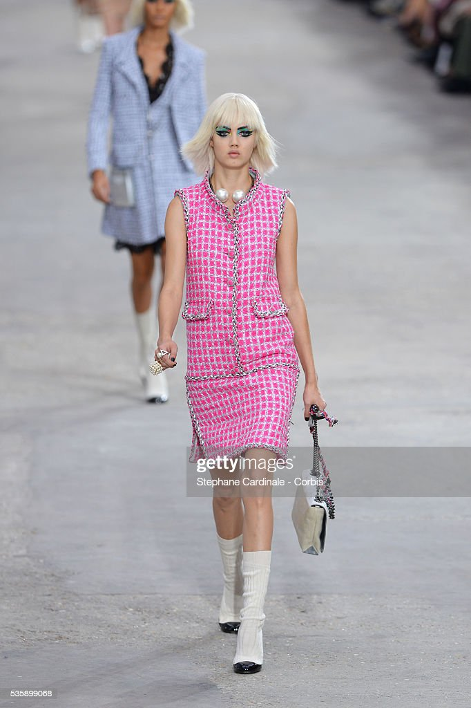 A model Lindsay Wixson walks the runway during Chanel show, as part of the Paris Fashion Week Womenswear Spring/Summer 2014, in Paris.