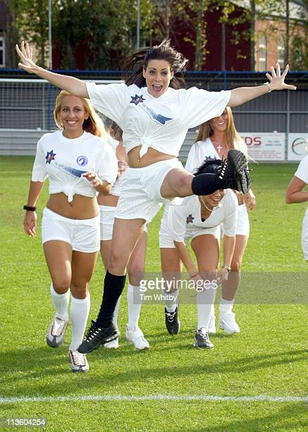 Model Lindsey Dawn Mcenzie from the Page 3 Girls Team at a celebrity football match today at Walham Forest FC in Walthamstow East London The days...
