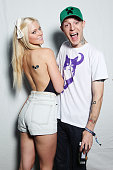 Model Lindsey Gayle Evans and Joel Thomas Zimmerman aka Deadmau5 pose for a portrait backstage during the 2011 Lollapalooza at Grant Park on August 7...